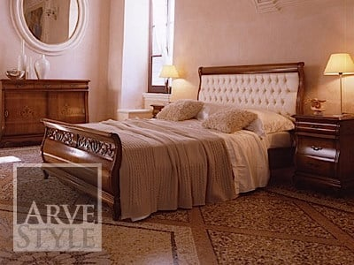 Solid wood double bed with tufted headboard FENICE | Bed with tufted headboard by Arvestyle