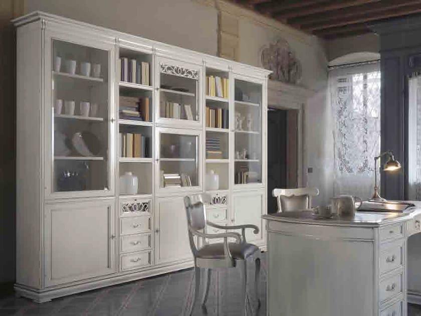 Libreria in legno massello con cassetti FENICE | Libreria laccata by Arvestyle