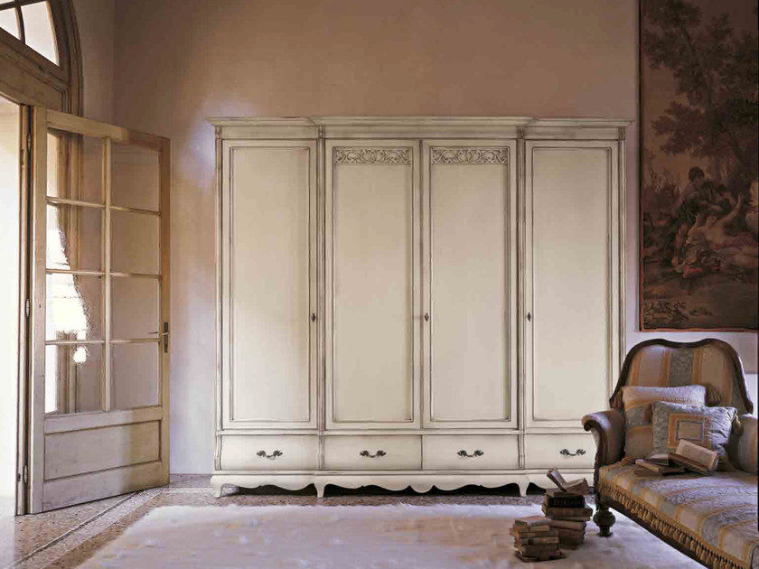 Lacquered solid wood wardrobe with drawers FENICE | Lacquered wardrobe by Arvestyle