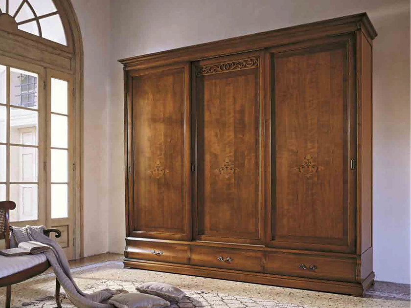 Solid wood wardrobe with sliding doors FENICE | Solid wood wardrobe by Arvestyle