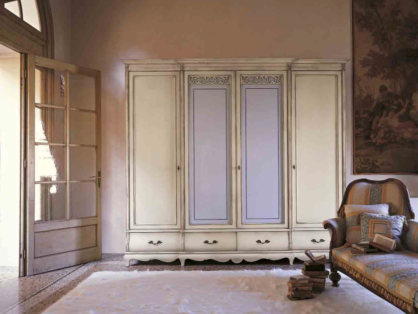 Wood and glass wardrobe with drawers FENICE | Wardrobe - Arvestyle