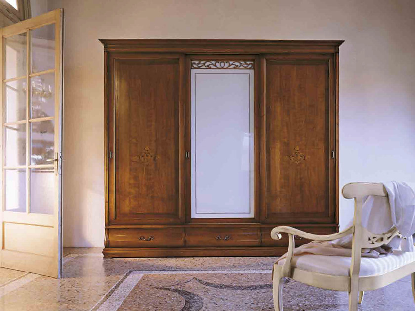Wood and glass wardrobe with sliding doors FENICE | Wardrobe with drawers - Arvestyle