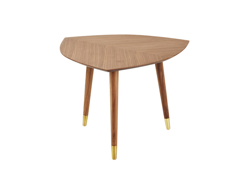 Low walnut coffee table for living room FEUILLE by CFOC