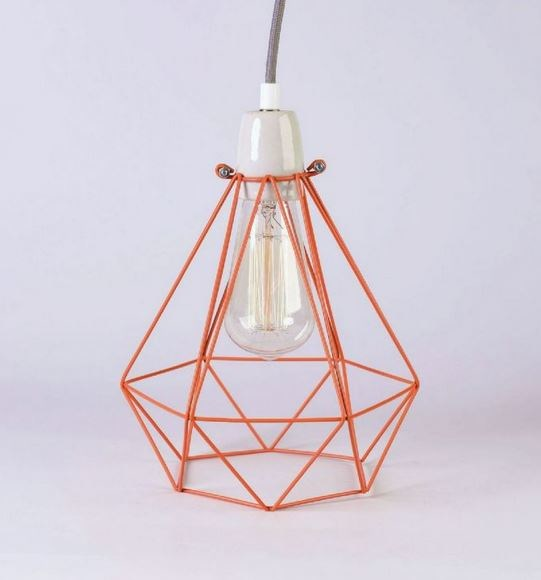 Metal pendant lamp / table lamp ORANGE CAGE GREY FABRIC WIRE - FILAMENTSTYLE