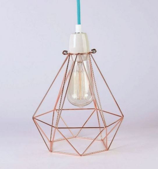 Metal pendant lamp / table lamp COPPER CAGE BLUE FABRIC WIRE - FILAMENTSTYLE
