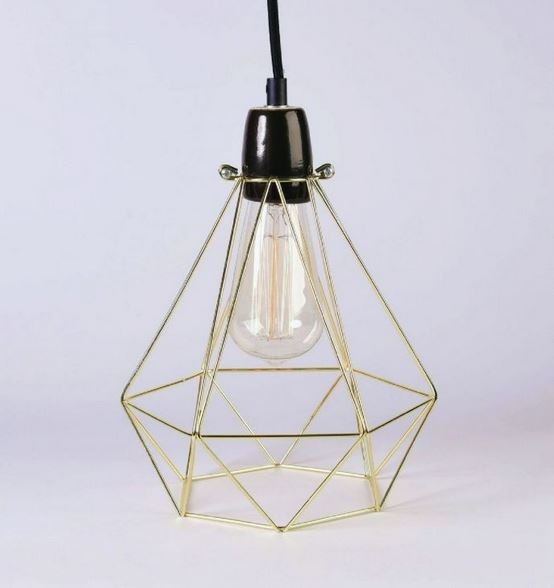 Metal pendant lamp / table lamp GOLD CAGE BLACK FABRIC WIRE - FILAMENTSTYLE
