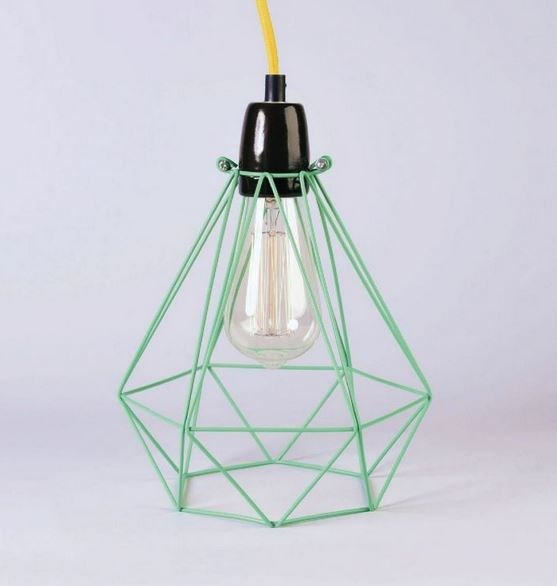 Metal pendant lamp / table lamp MINT CAGE YELLOW FABRIC WIRE - FILAMENTSTYLE