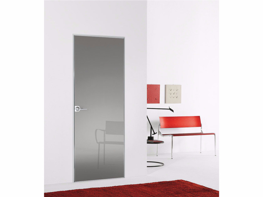 Hinged flush-fitting door FILO ZERO - POLISHED GLASS by PORTEK by LEGNOFORM