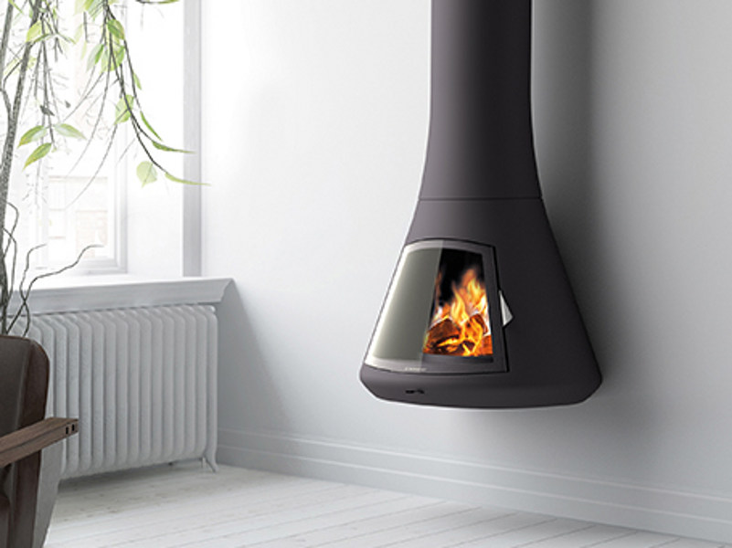 Wall-mounted fireplace with panoramic glass CALISTA 917 | Wall-mounted fireplace by JC Bordelet
