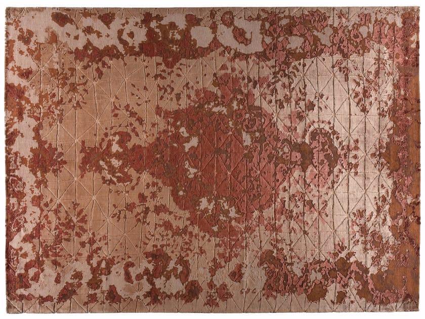 Tappeto fatto a mano rettangolare in lana e seta FIRUZABAD RAME - Golran
