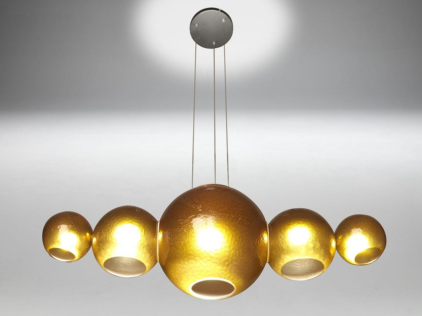 LED blown glass pendant lamp FIZZY - Paolo Castelli