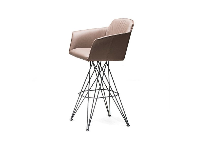 Swivel leather counter stool FLAMINO - Cattelan Italia