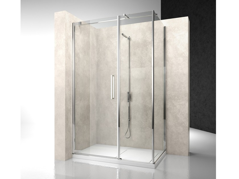 Corner shower cabin with hinged door FLARE F2+FG - VISMARAVETRO