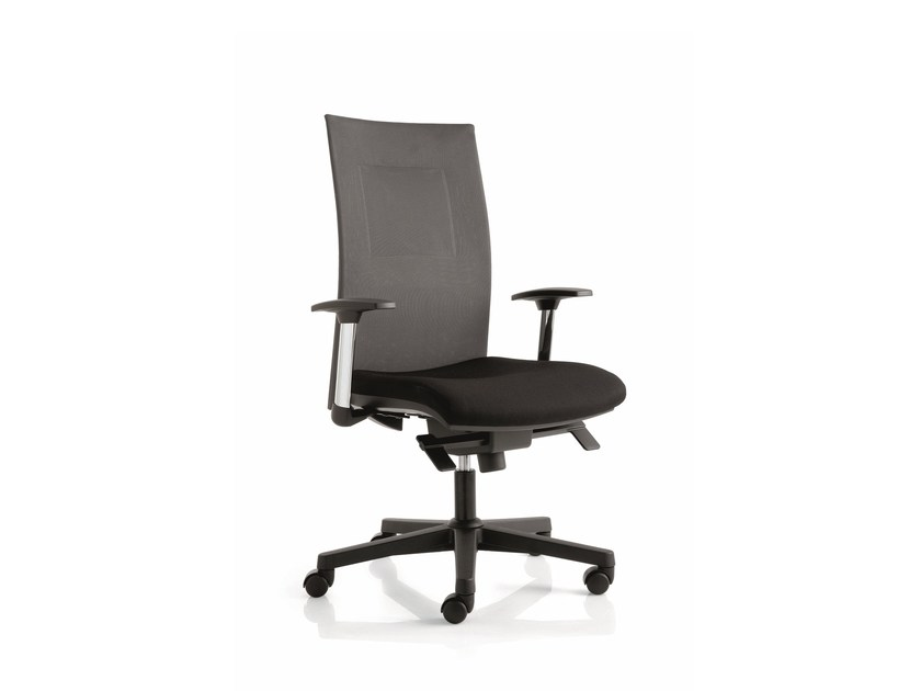Height-adjustable task chair with 5-Spoke base with armrests FLAT02 | Swivel task chair by Emmegi