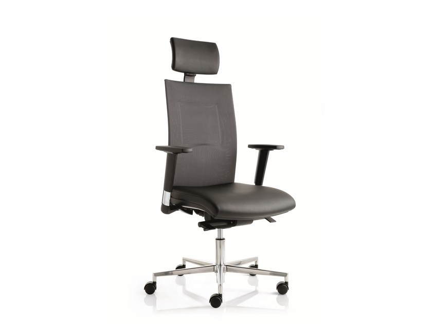 Height-adjustable task chair with 5-Spoke base with armrests FLAT02 | Task chair with armrests - Emmegi