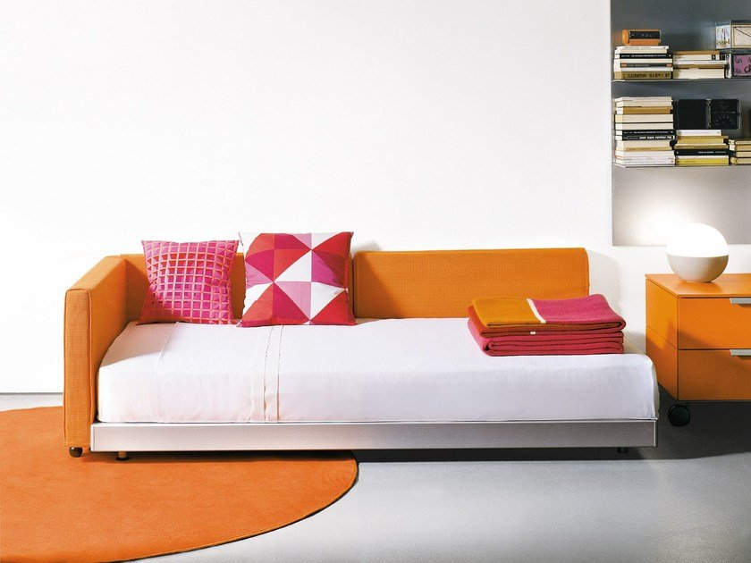 Fabric single bed with upholstered headboard FLIPPER | Single bed - EmmeBi