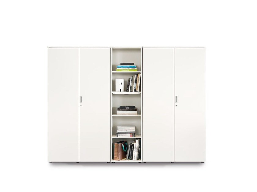 Tall office storage unit with hinged doors with lock FLOAT_FX | Modular office storage unit - Wiesner-Hager