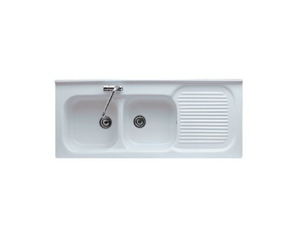 2 bowl built-in sink with drainer FLORENCE 120 DX - GALASSIA