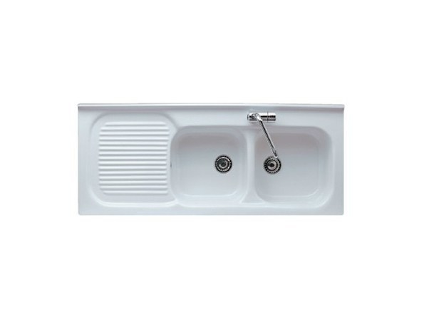 2 bowl built-in sink with drainer FLORENCE 120 SX - GALASSIA