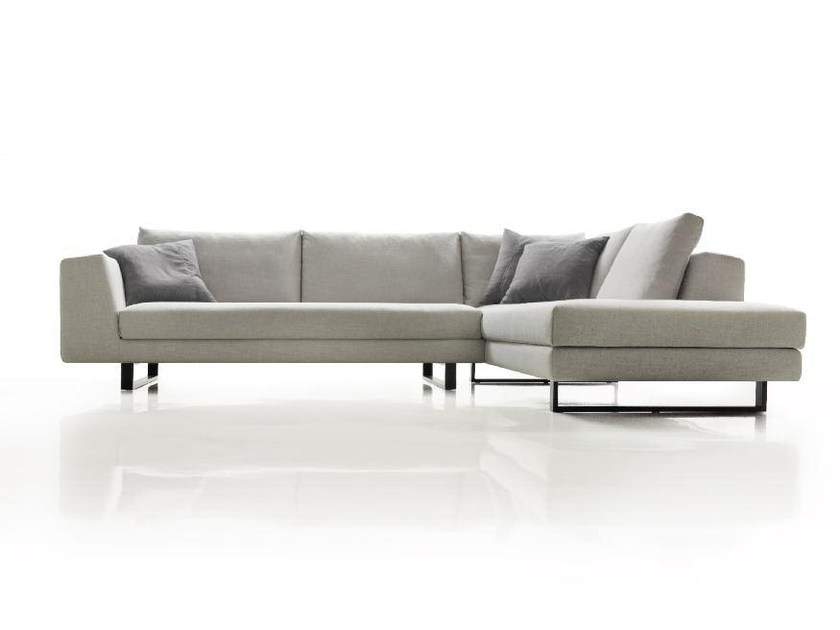 Fabric sofa with chaise longue FLOW by Papadatos