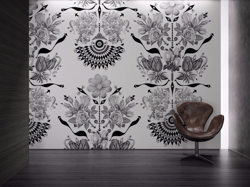 Washable vinyl wallpaper with floral pattern FLOWERS - GLAMORA
