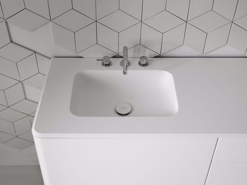 Rectangular washbasin with integrated countertop FLUENT | Rectangular washbasin - INBANI