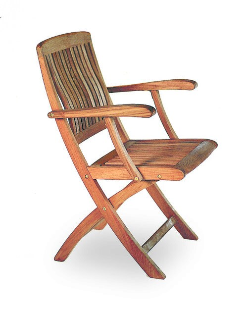 Folding teak garden chair with armrests DEL REY | Folding chair - ROYAL BOTANIA