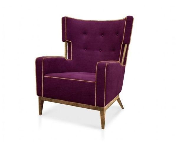 Tufted upholstered velvet wingchair FONDA - Ottiu