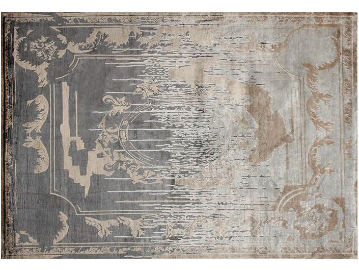 Handmade rectangular custom rug FONTENAY NEW AGE SHADOW - EDITION BOUGAINVILLE