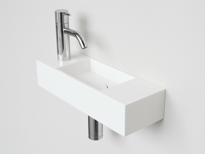 Rectangular wall-mounted HI-MACS® handrinse basin FORM LIGHT by Not Only White