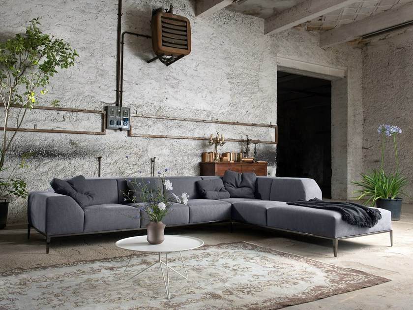 Sectional upholstered fabric sofa FORTYFIVE | Corner sofa by Minimomassimo