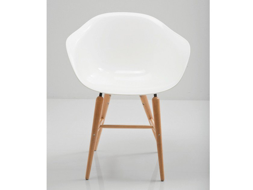ABS easy chair with armrests FORUM WOOD WHITE - KARE-DESIGN