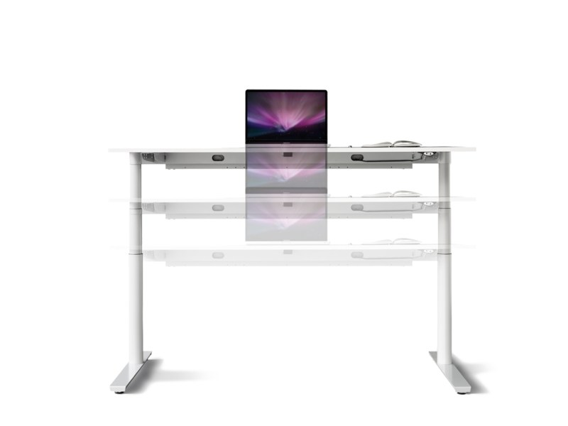 Height-adjustable rectangular workstation desk FOXX_eR by Wiesner-Hager