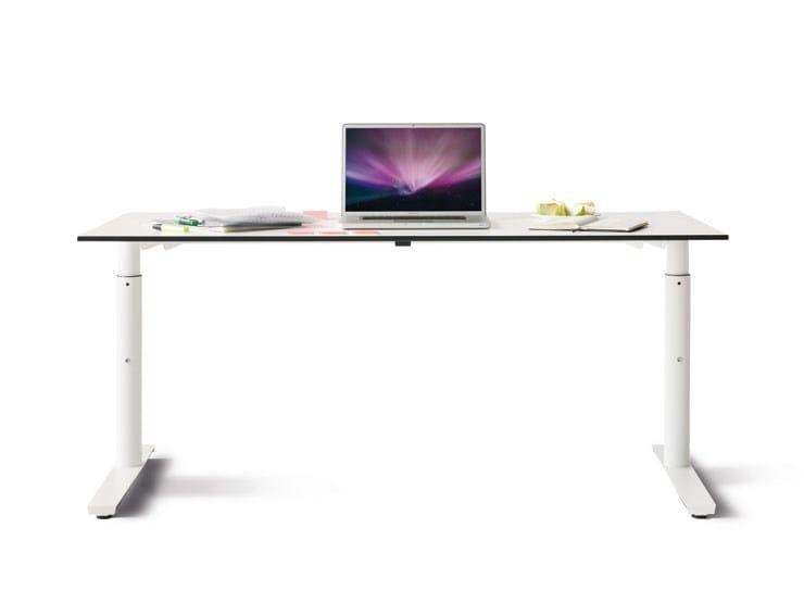 Height-adjustable rectangular workstation desk FOXX_M - Wiesner-Hager