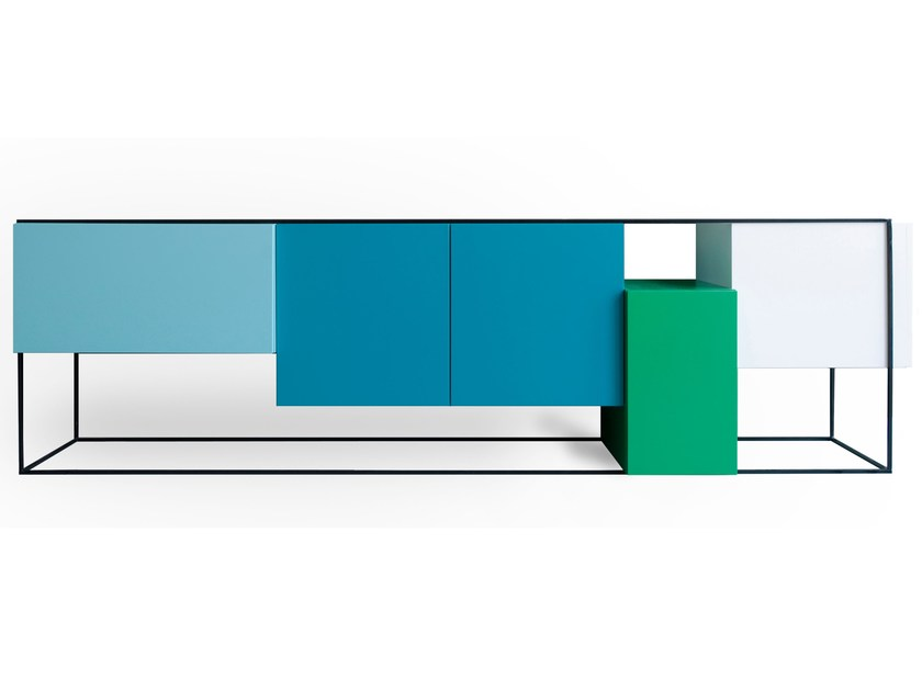Lacquered sideboard with doors FRAMED | Sideboard with doors - Moca