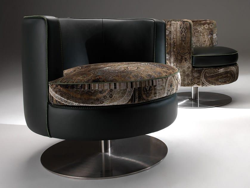 Swivel upholstered velvet and leather easy chair FRISBEE | Easy chair by Borzalino