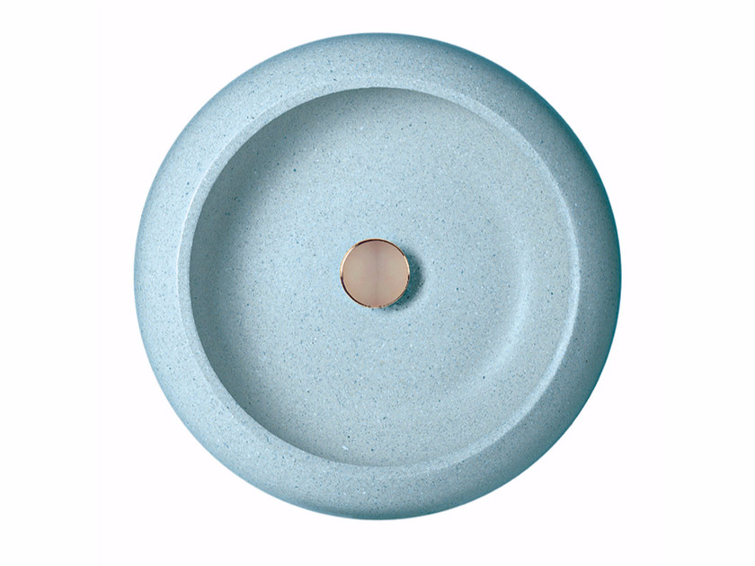 Countertop round single marble grit washbasin FRISBY - Mipa