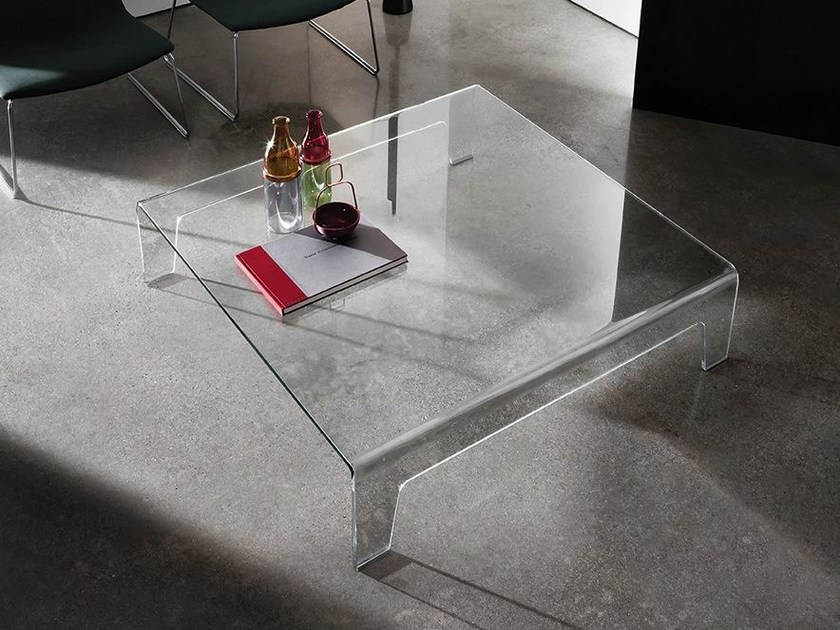 Low glass coffee table FROG | Square coffee table - SOVET ITALIA