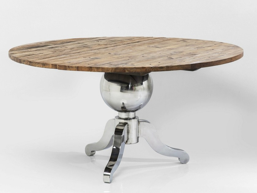 Round steel and wood table FUSIONE | Round table - KARE-DESIGN