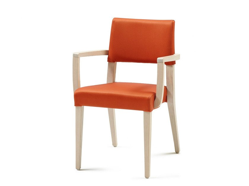 Upholstered stackable fabric chair with armrests GALA + A ST - Z-Editions