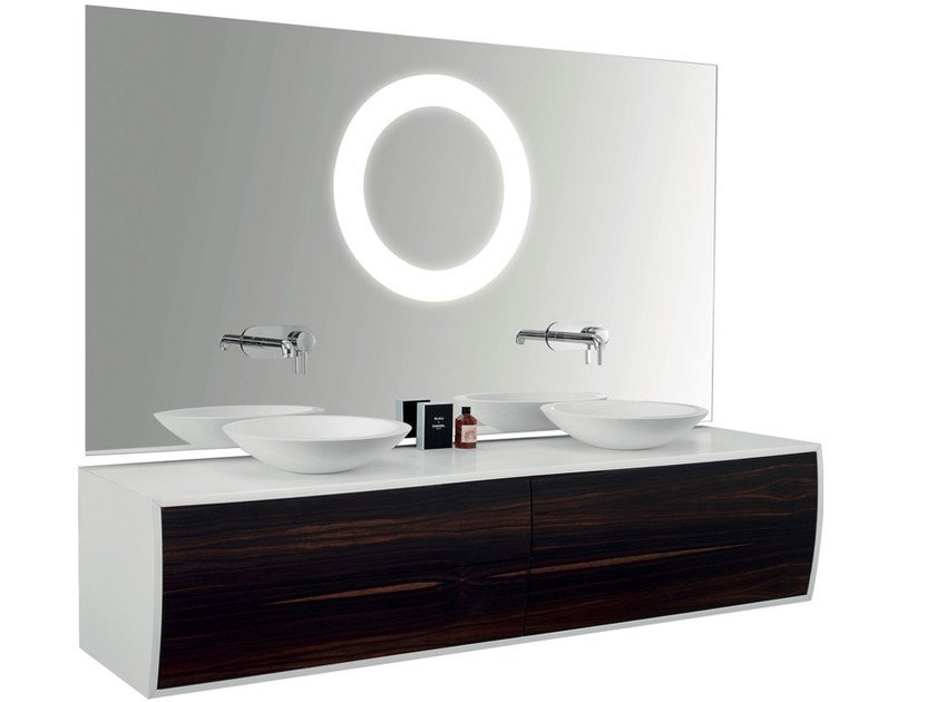 Double wall-mounted vanity unit with mirror GALBE | Double vanity unit - International Swiss Concepts