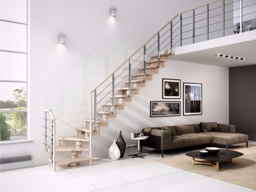 L-shaped beech Open staircase with central stringer GAMMA | L-shaped Open staircase - RINTAL