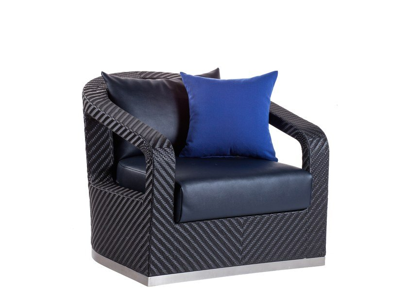 Upholstered garden armchair with armrests CRUISE | Garden armchair - 7OCEANS DESIGNS