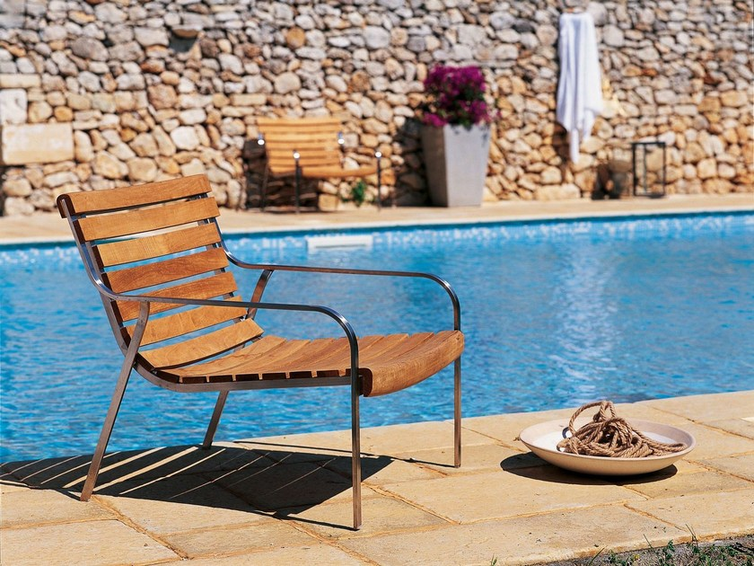 Contemporary style stainless steel garden armchair with armrests EQUINOX | Garden armchair by Unopiù