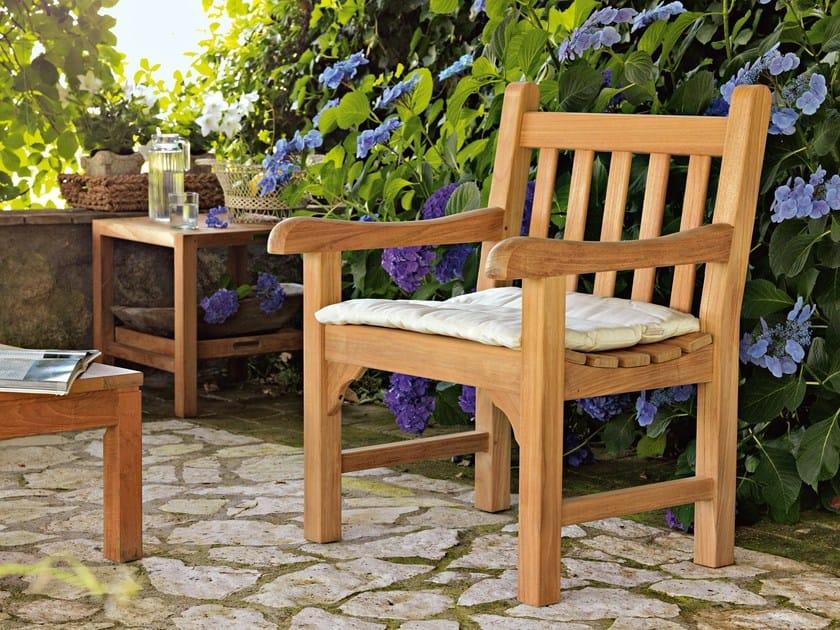 Teak garden armchair with armrests GREEN | Garden armchair by Unopiù