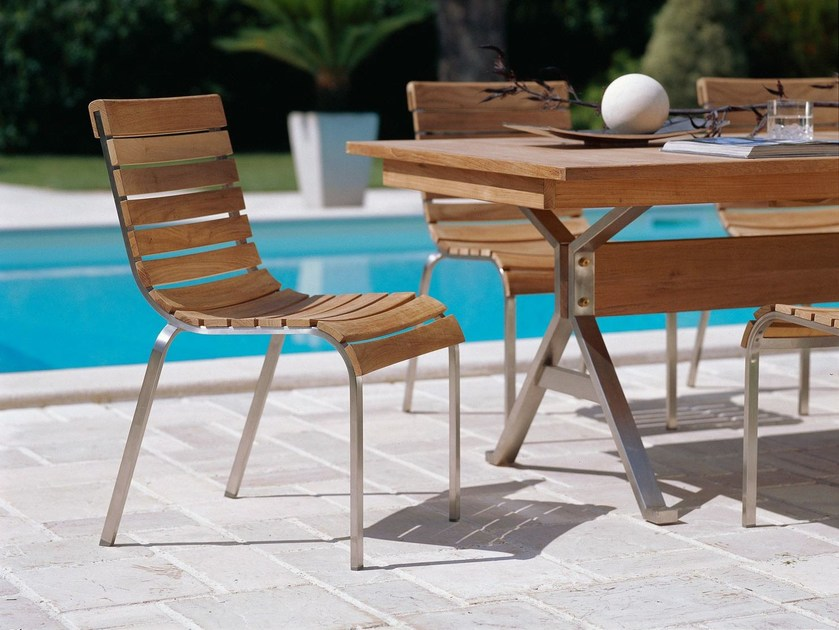 Stackable stainless steel and wood garden chair EQUINOX | Garden chair by Unopiù