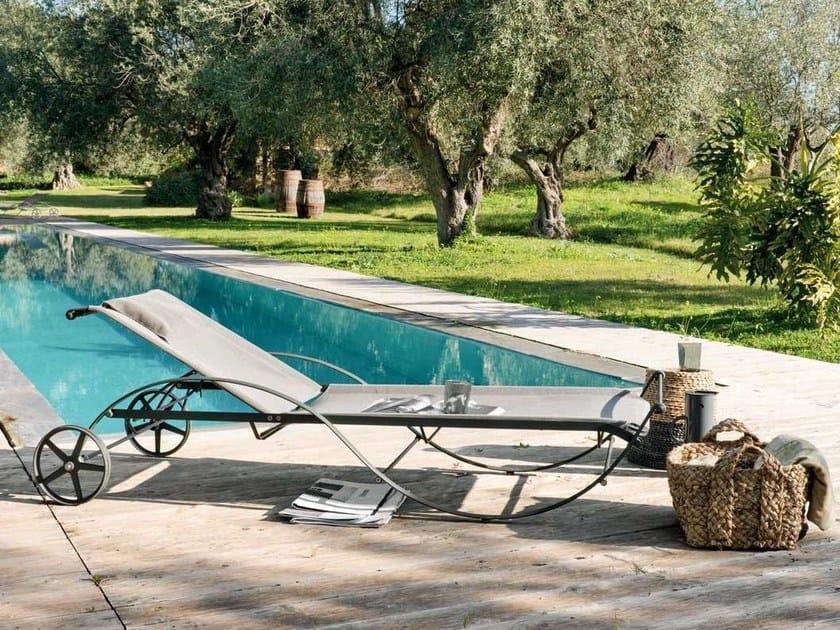Recliner iron garden daybed with Casters AURORA   Garden daybed by Unopiù