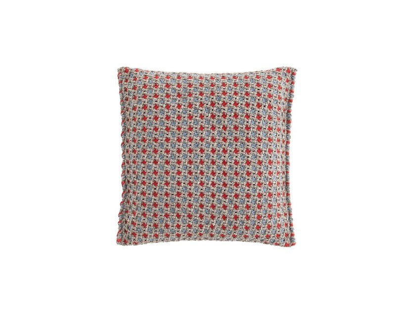Motif square outdoor polypropylene cushion GARDEN LAYERS BLUE | Square cushion by GAN