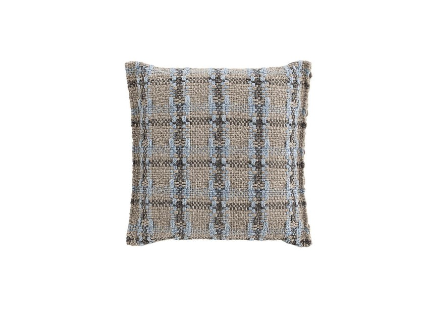 Check square outdoor polypropylene cushion GARDEN LAYERS BLUE | Square cushion by GAN