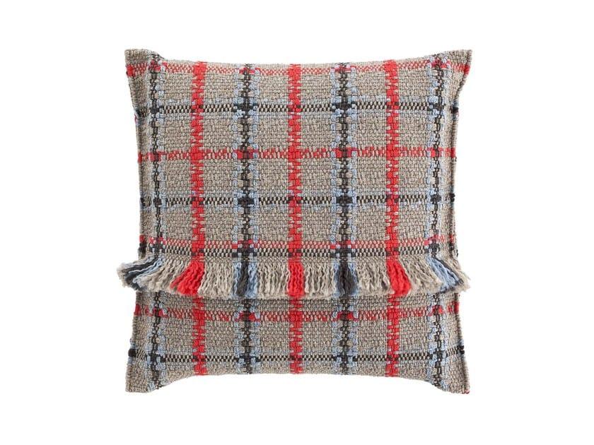 Square tartan outdoor polypropylene cushion GARDEN LAYERS BLUE | Square cushion by GAN